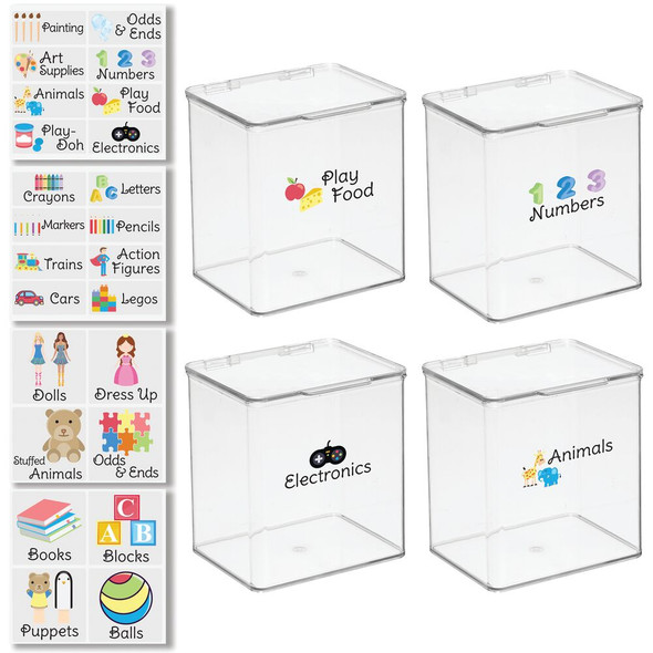 """Plastic Toy Bins with Labels - 5.5"""" x 6.6"""" x 7"""" - Pack of 4"""
