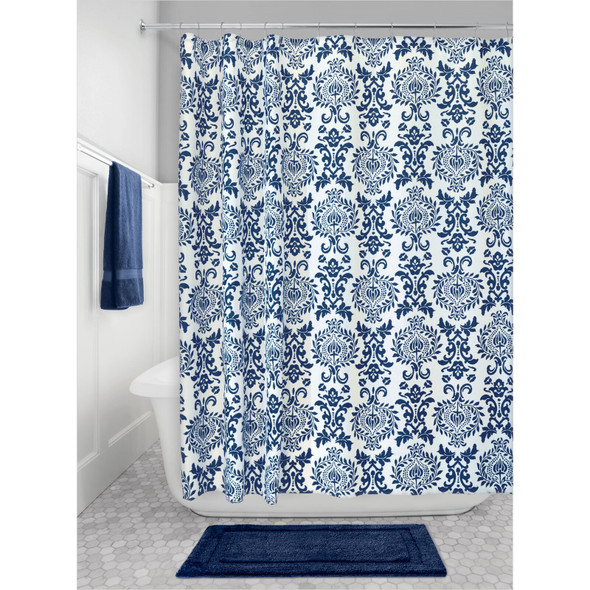 100% Polyester Navy Patterned Shower Curtain - 72 x 72