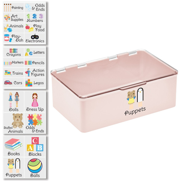 """Plastic Toy Bin with Labels - 7.1"""" x 10.7"""" x 3.7"""""""