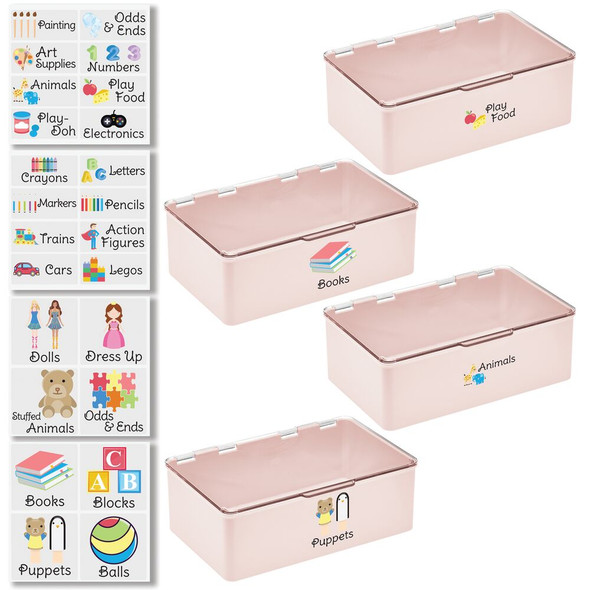 """Plastic Toy Bins with Labels - 7.1"""" x 10.7"""" x 3.7"""" - Pack of 4"""