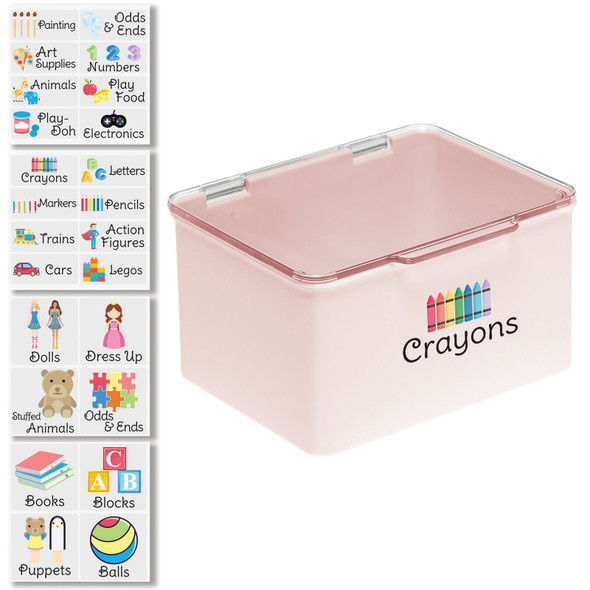 """Plastic Toy Bin with Labels - 5.5"""" x 6.6"""" x 3.7"""""""