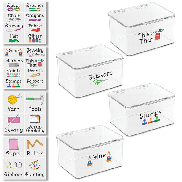 """Plastic Craft Storage Bin with Labels - 5.5"""" x 6.6"""" x 3.7"""" - Pack of 4"""