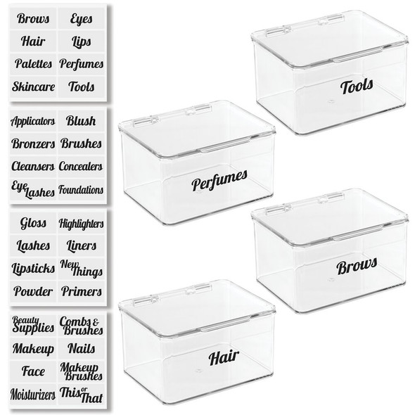 Cosmetic Bins with Labels - Pack of 4