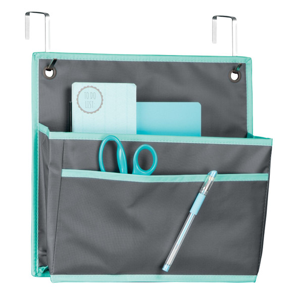 2 Pocket Cubicle Fabric Hanging Home Office Desk Organizer - Gray/Teal