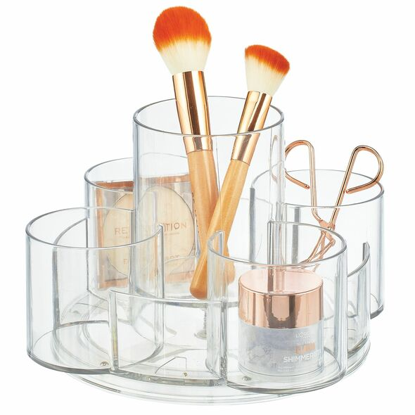 Plastic Cosmetic 9-Section Lazy Susan Makeup Turntable, Clear