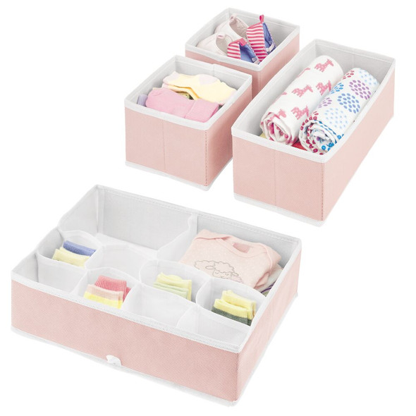 Multi-Compartment Fabric Drawer Organizers in Pink/White – Set of 4