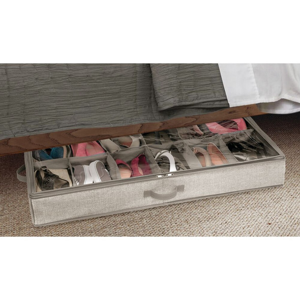 Large 12 Section Fabric Under Bed Storage Shoe Organizer Bag - Gray