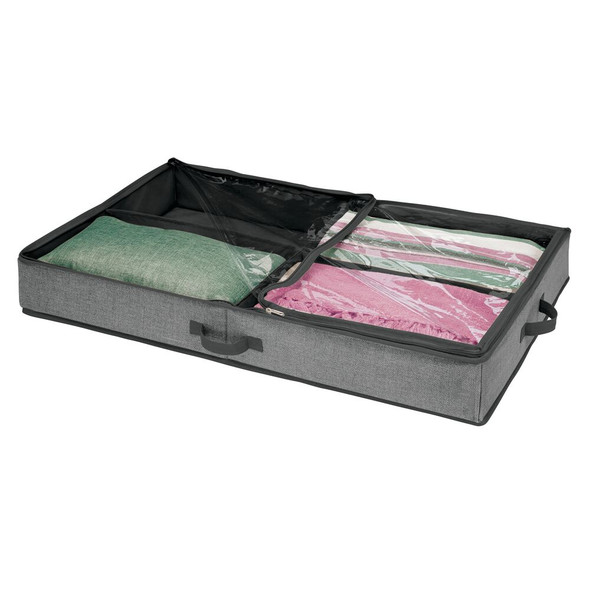 Fabric Under Bed Storage Organizer Bag, Clear Zippered Lid - 4 Sections