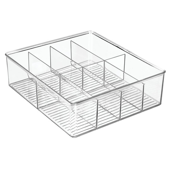 Wide Plastic Divided Kitchen Pantry Food Storage Bin, 8 Sections