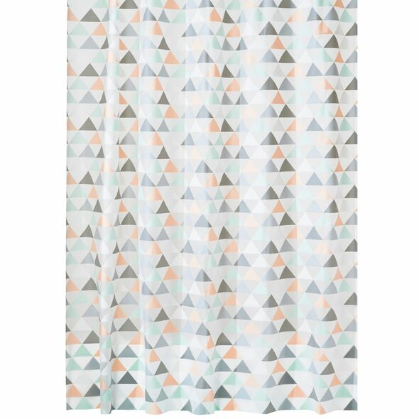 PEVA Coral/Mint Green Triangles Shower Curtain - 72 x 84