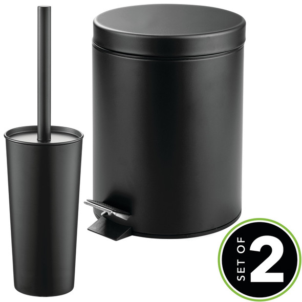 Steel Round Step Can and Bowl Brush in Black - Set of 2