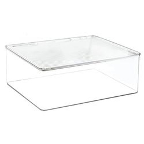 Clear Plastic Stackable Toy Storage Box with Lid - Pack of 4