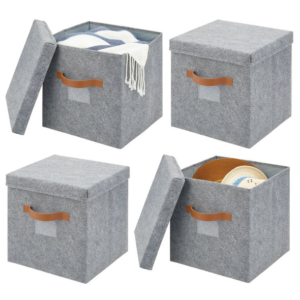 Felt Cube Storage Box with Lid and Handles - Pack of 4