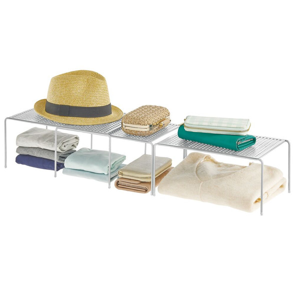 Silver Steel Expandable Cabinet Shelves - Pack of 3