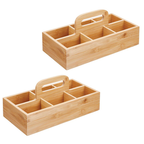 Bamboo Bath Tote With 6 Compartments and Handle - Pack of 2