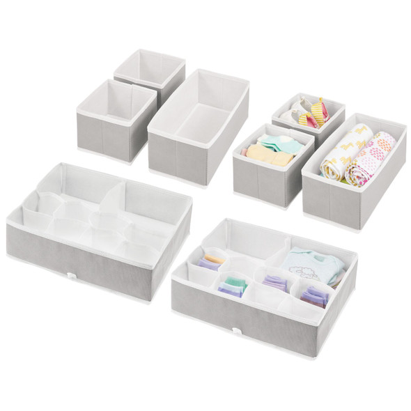 Multi-Compartment Fabric Drawer Organizers in Light Gray/White – Set of 8
