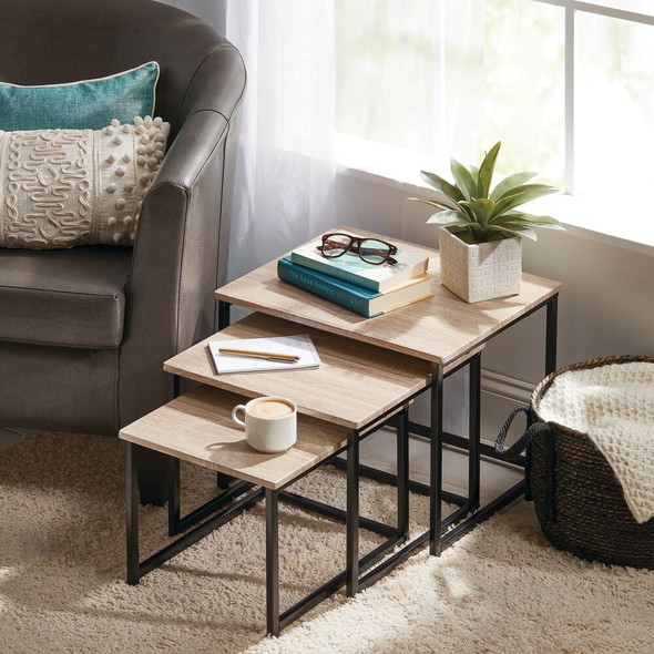 Metal and Wood Nesting End Tables - Set of 3