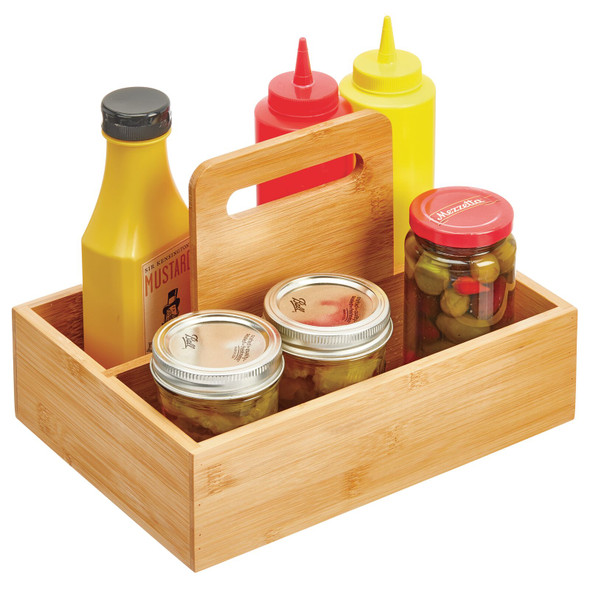 Small Bamboo Kitchen Pantry Food Storage Caddy Tote