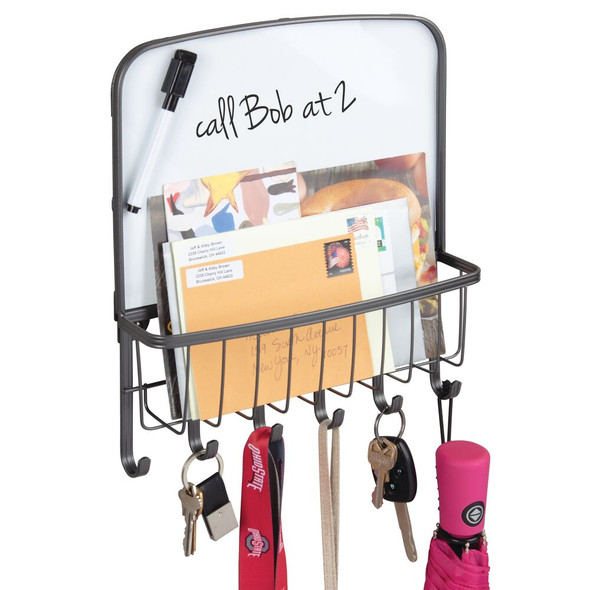 Wall Mount Entryway Mail Holder with Dry Erase Board