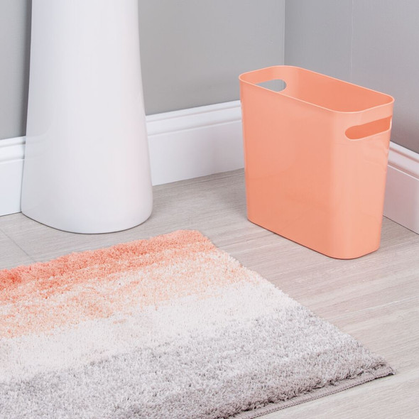 Microfiber Non-Slip Bathroom Rug & Small Wastebasket Can in Coral - Set of 2