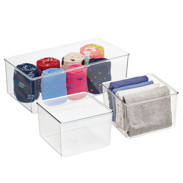 Clear Plastic Drawer Organizers for Dresser Storage - Set of 3