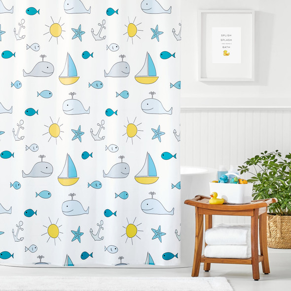 Whale + Boat Print Shower Curtain