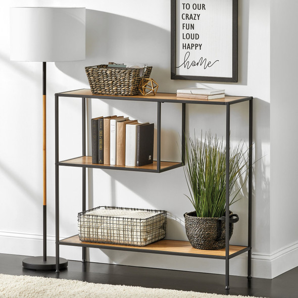 Industrial Console Table with 2-Tier Shelf