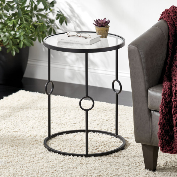 Round Inlay Accent Table
