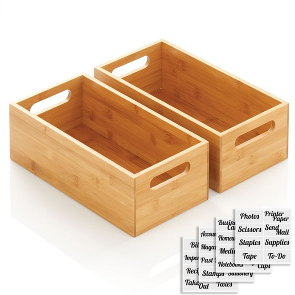 Bamboo Office Organizer Box, Handles, 32 Labels - Pack of 2