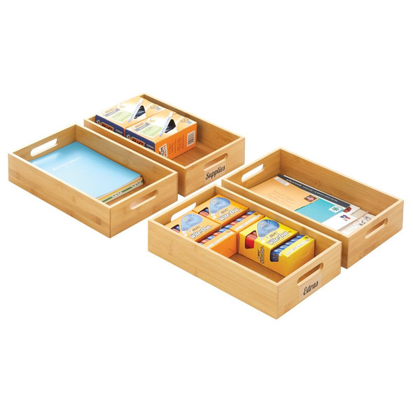Bamboo Office Organizer Box, Handles, 32 Labels - Pack of 4