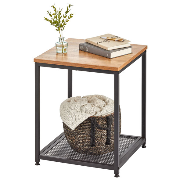 Industrial Side Table with Steel Shelf