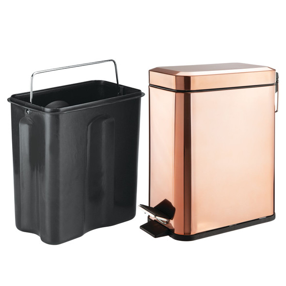 Modern Trash Can with Lid and Brush Set