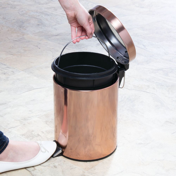 Round Trash Can with Lid and Bowl Brush