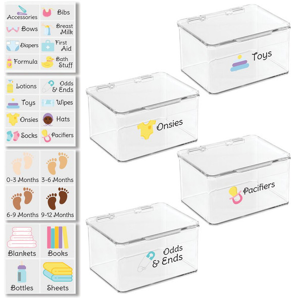 """Stackable Plastic Baby Storage Bins with Labels - 6.5"""" x 5.6"""" x 3.7"""""""