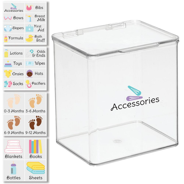 """Plastic Baby Bin with Labels - 7"""" Tall"""