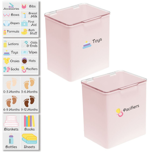 """Plastic Baby Bins with Labels - 7"""" Tall"""