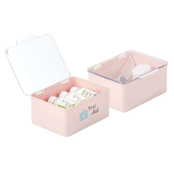 Plastic Stackable Baby Storage Bin with Hinged Lid - Pack of 2
