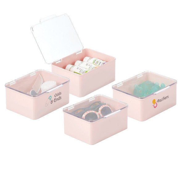Plastic Stackable Baby Storage Bin with Hinged Lid - Pack of 4