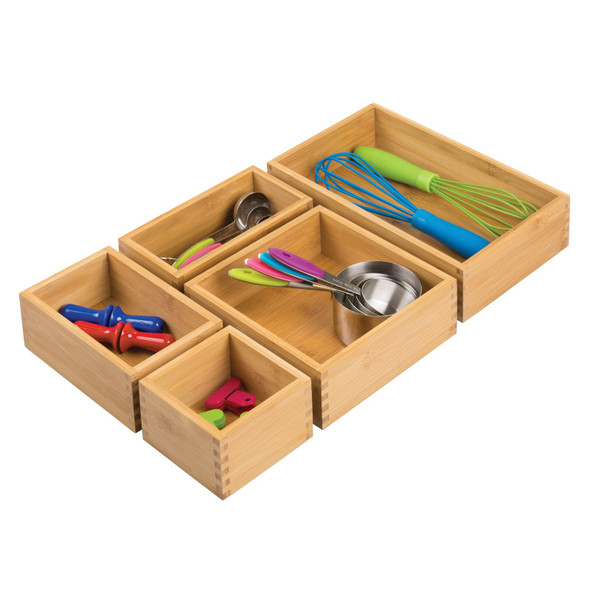 Bamboo Stacking Kitchen Drawer Organizer Tray Combo - Set of 5
