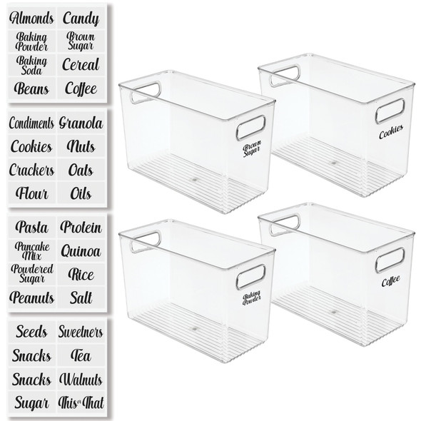 Plastic Kitchen Storage Bins with Handles and Labels - Pack of 4