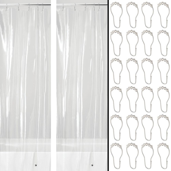 Clear Vinyl Shower Curtain Liner with Rings