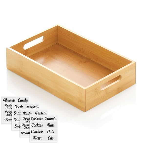 """Bamboo Bin with Labels for Kitchen - 14.5"""" x 8.6"""" x 3"""""""