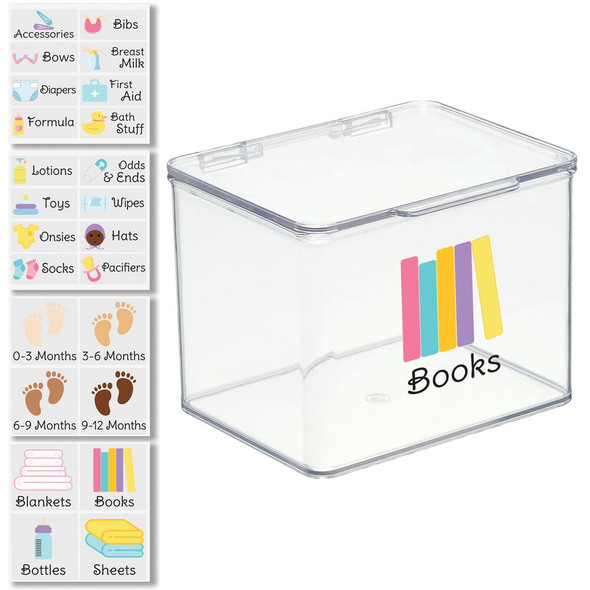 Clear Plastic Baby Bin with Labels