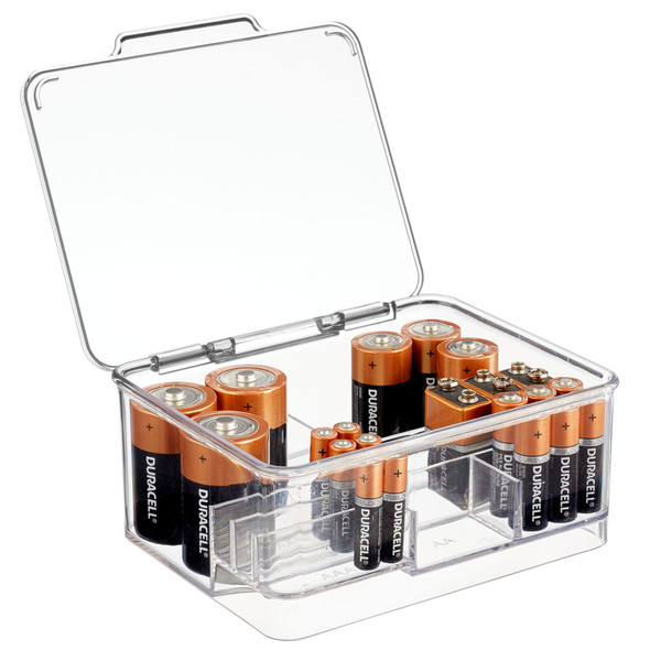 Multi-Compartment Stackable Battery Storage Box