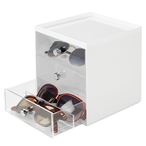 3 Drawer Stacking Eyeglass Storage Box with Clear Drawers