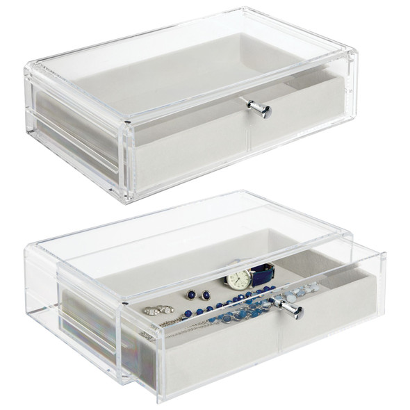 Plastic Stackable Jewelry Box, Felt Lined Organizer Pull Out Tray and Storage Drawer for Dresser, Pack of 2