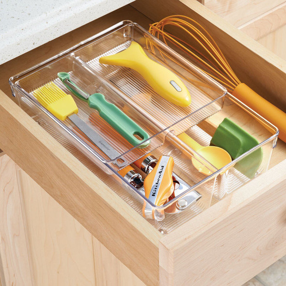 Plastic Stackable Kitchen Drawer Organizer with Tray