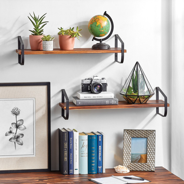 Floating Shelves with Brackets - Pack of 2