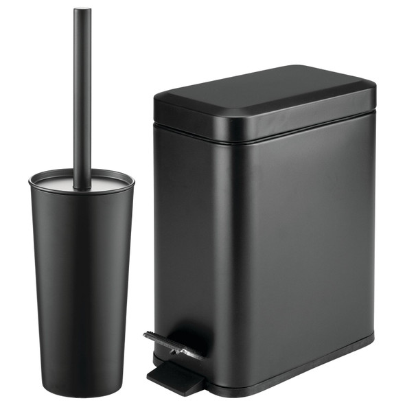 Steel Rectangular Step Can and Bowl Brush in Black - Set of 2