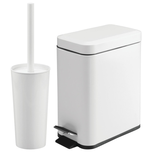 Steel Rectangular Step Can and Bowl Brush in White - Set of 2
